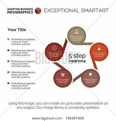 Cycle diagram. Element of presentation, chart, five step diagram. Concept for business infographics, presentation templates, reports. Can be used for topics like strategy, working process, marketing