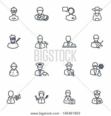 Collection Of Policeman, Firefighter, Designer And Other Elements. Set Of 16 Job Outline Icons Set.