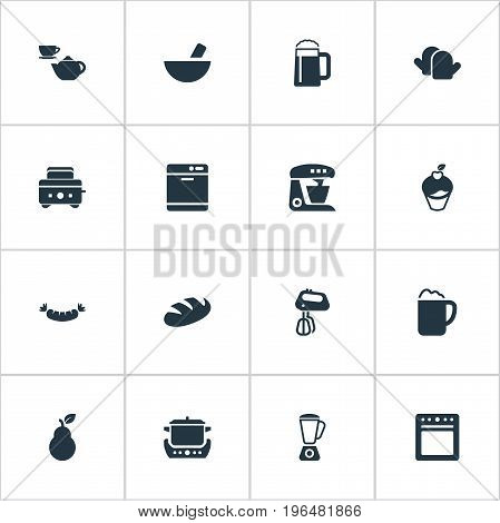 Elements Roasted Bread, Beerhouse, Sausage And Other Synonyms Set, Ponder And Glove. Vector Illustration Set Of Simple Cuisine Icons.
