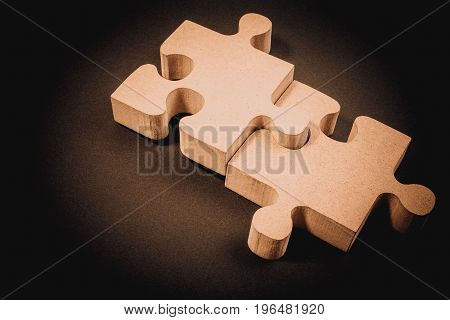 Business Concept With Jigsaw Puzzle. Business Success, Teamwork And Cooperation. Business Concept Of