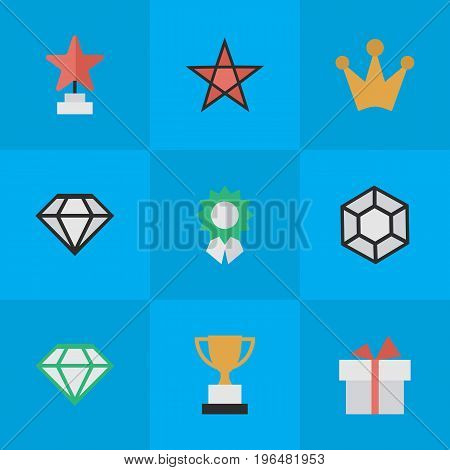 Elements Brilliant, Diamond, Reward And Other Synonyms First, Present And Gift. Vector Illustration Set Of Simple Trophy Icons.