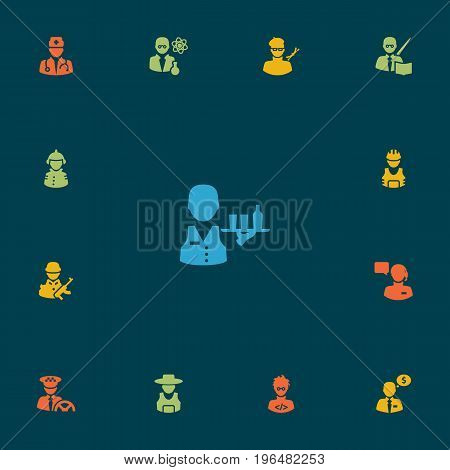 Collection Of Leaner, Coder, Working And Other Elements. Set Of 13 Job Icons Set.