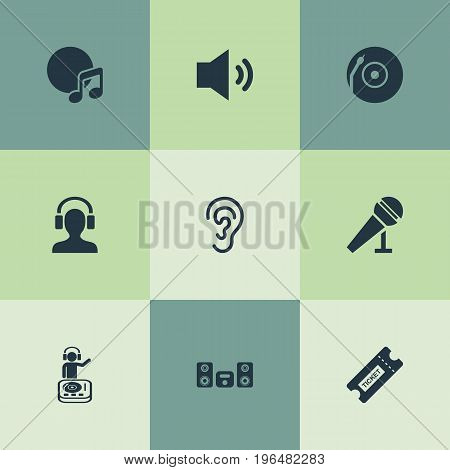 Elements Playboy, Turntable, Album And Other Synonyms Loudspeaker, Song And Headphone. Vector Illustration Set Of Simple Sound Icons.