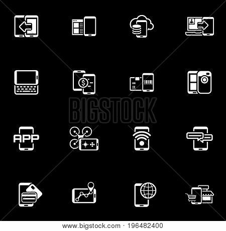 Flat Design Mobile Devices and Services Icons Set. Isolated Illustration.