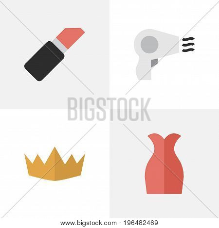 Elements Dress, Crown, Pomade And Other Synonyms Pomade, Hairdryer And Lipstick. Vector Illustration Set Of Simple Elegance Icons.