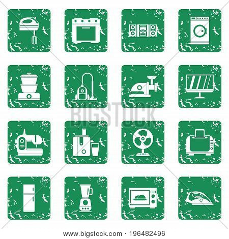 Household appliances icons set in grunge style green isolated vector illustration