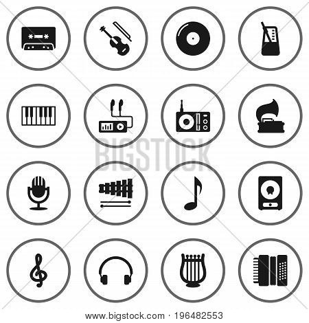 Set Of 16 Song Icons Set. Collection Of Retro Disc, Tape, Quaver And Other Elements.