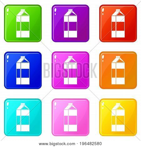 Milk icons of 9 color set isolated vector illustration