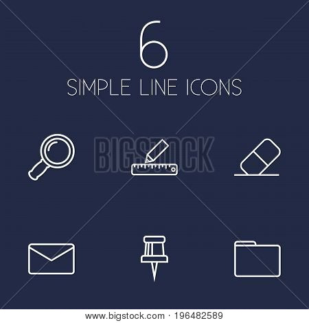 Set Of 6 Tools Outline Icons Set. Collection Of Zoom Glasses, Eraser, Pencil And Other Elements.