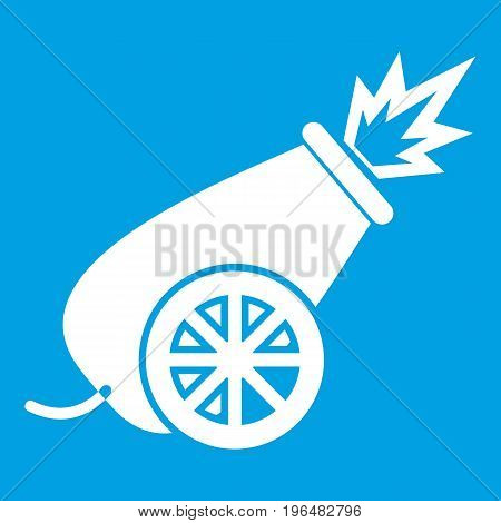 Circus cannon icon white isolated on blue background vector illustration