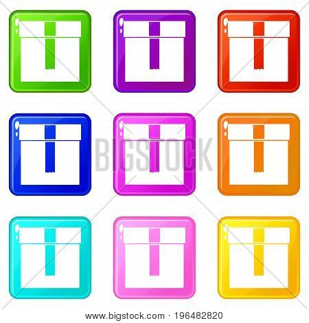 Box icons of 9 color set isolated vector illustration