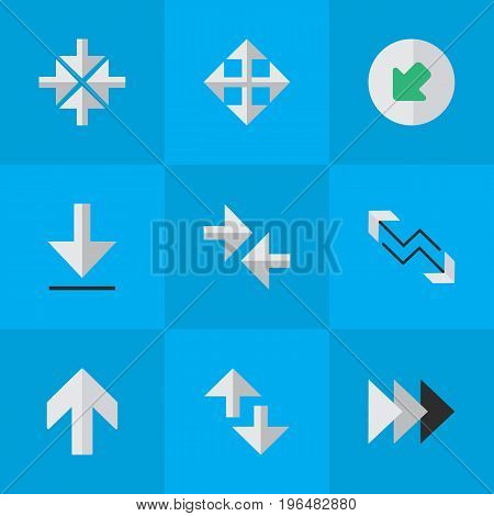 Elements Loading, Upwards, Inside And Other Synonyms Up, Widen And Forward. Vector Illustration Set Of Simple Arrows Icons.