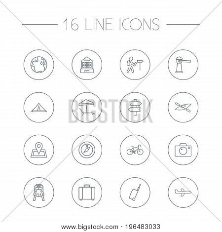 Set Of 16 Relax Outline Icons Set. Collection Of Building, Bag, Globe And Other Elements.