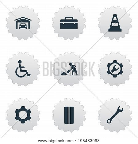 Elements Vehicle Building, Spanner, Builder And Other Synonyms Express, Cone And Builder. Vector Illustration Set Of Simple Vehicle Icons.