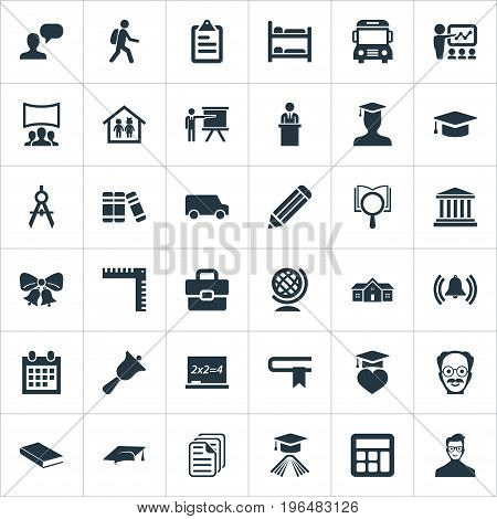 Vector Illustration Set Of Simple Education Icons. Elements Interactive Lesson, Magnifier, Reminder And Other Synonyms Speech, Degree And Architect.
