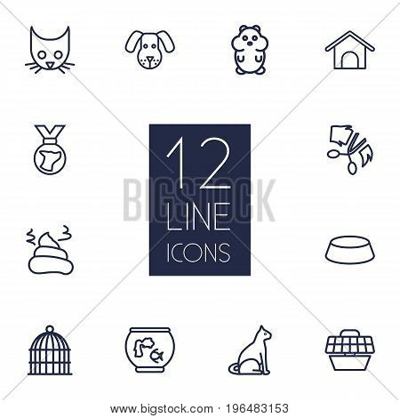Set Of 12 Pets Outline Icons Set. Collection Of Hamster, Pile Of Poo, Cat And Other Elements.