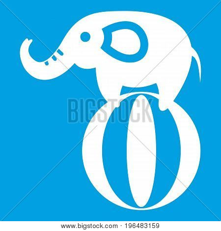Elephant balancing on a ball icon white isolated on blue background vector illustration