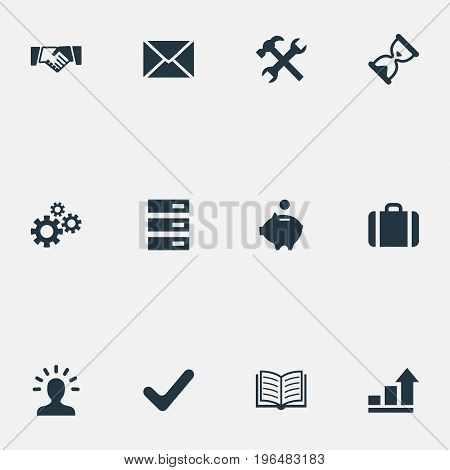 Vector Illustration Set Of Simple Startup Icons. Elements Graph, Envelope, Greeting And Other Synonyms Timer, Bank And Repair.