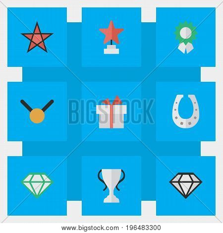 Vector Illustration Set Of Simple Prize Icons. Elements Champion, Diamond, Present And Other Synonyms Goblet, Present And Gift.