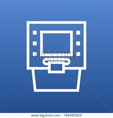 Isolated Terminal Outline Symbol On Clean Background. Vector Atm Element In Trendy Style.