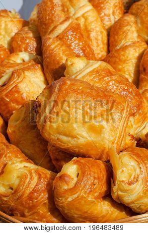 Fresh Baked Croissants Closeup, Vivid Colors And Tasty Background