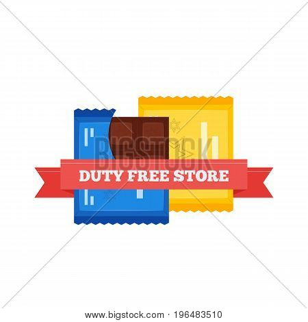 Vector flat icon of chocolate bars in Duty Free shop at airport. Isolated on white background illustration of different chocolate candy goods for tax free airport shopping.