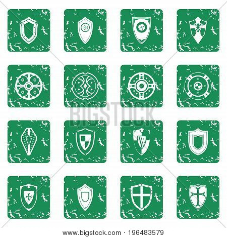 Shields set in grunge style green isolated vector illustration