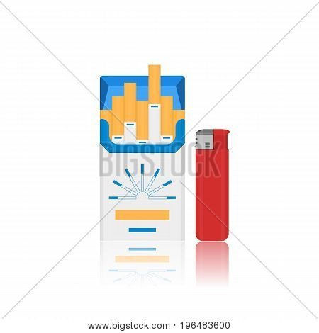 Vector flat cigarette pack and lighter icon. Fire lighter tool and nicotine goods for tobacco smoker. Isolated on white background illustration of logo or sign design illustration.