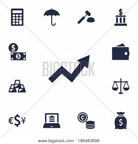 Collection Of Electron Report, Umbrella, Judge And Other Elements. Set Of 13 Finance Icons Set.