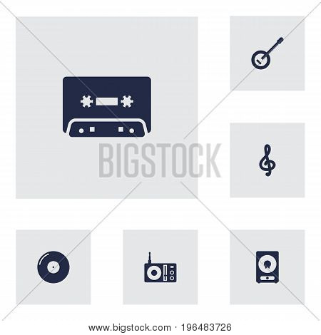 Set Of 6 Music Icons Set. Collection Of Retro Disc, Tape, Banjo And Other Elements.