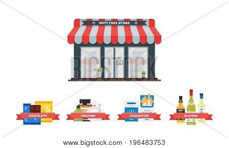 Vector flat icons set of Duty Free shop facade and catalog icons for perfume, alcohol, chokolate and cigarette packs at airport. Isolated illustration of store building for tax free airport shopping.