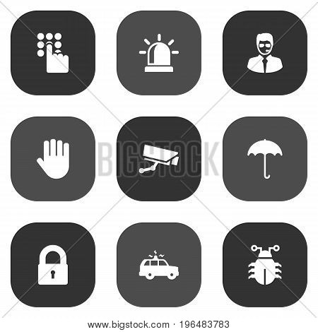 Collection Of Patrol, Security Man, Key And Other Elements. Set Of 9 Security Icons Set.