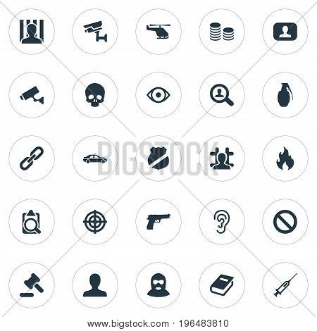 Elements Automobile, Thief, Sharpshooter And Other Synonyms Judicial, Danger And Handgun. Vector Illustration Set Of Simple Police Icons.