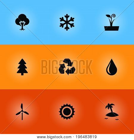 Collection Of Conservation, Tree, Isle Beach And Other Elements. Set Of 9 Ecology Icons Set.