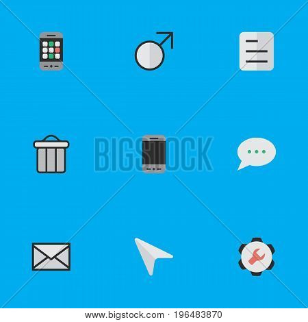 Vector Illustration Set Of Simple UI Icons. Elements Document, Message Bubble, Mobile Phone And Other Synonyms Call, Document And Male.