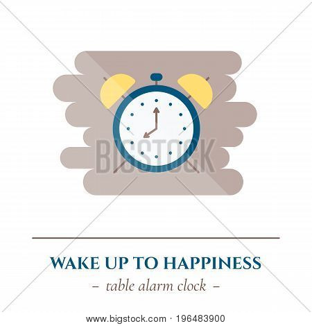 Vector simple flat icon for well healhty night sleep isolated on white background. Sleep table alarm clock.