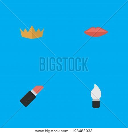 Elements Scrub, Pomade, Lips And Other Synonyms Cosmetic, Queen And Lips. Vector Illustration Set Of Simple Beauty Icons.
