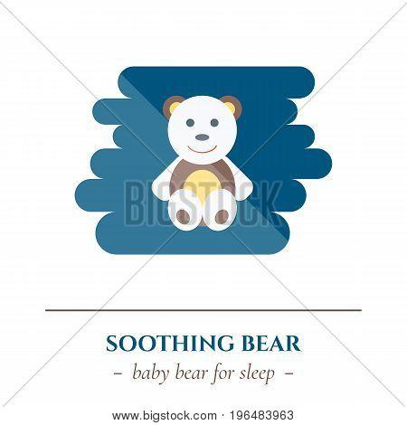 Vector simple flat icon for well healhty night sleep isolated on white background. Sleep child soft teddy bear