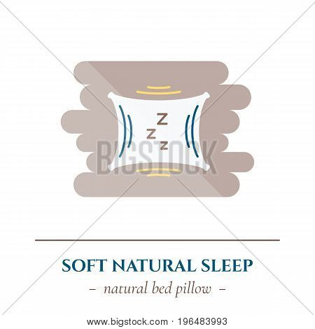 Vector simple flat icon for well healhty night sleep isolated on white background. Sleep soft pillowfor bed
