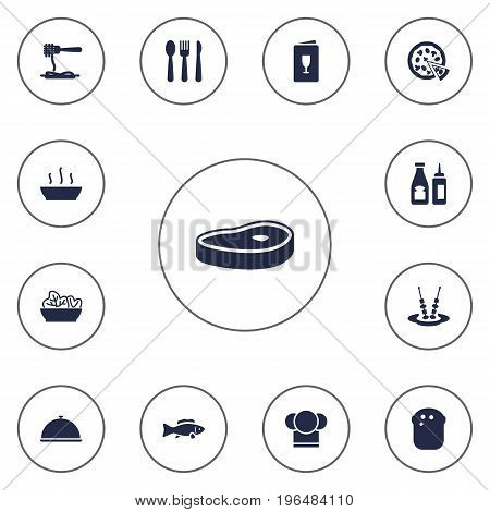 Set Of 13 Restaurant Icons Set. Collection Of Chef, Tray, Catsup And Other Elements.