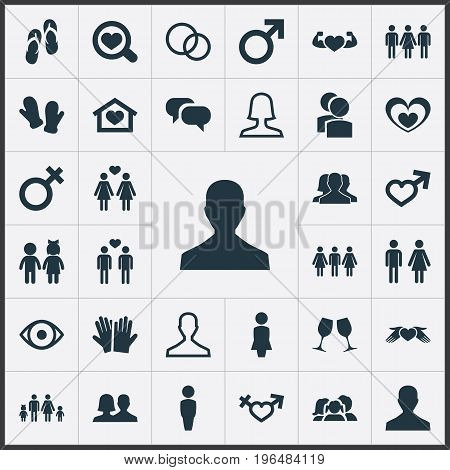 Elements Madame, Mister, Double And Other Synonyms Madame, Husband And Wedding. Vector Illustration Set Of Simple Beloved Icons.