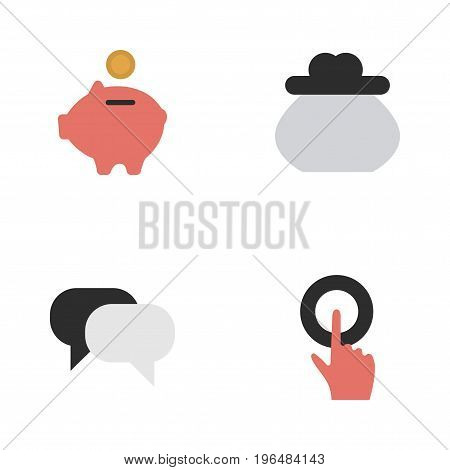 Elements Moneybox, Wallet, Finger Touching And Other Synonyms Piggy, Humans And Finger. Vector Illustration Set Of Simple Trade Icons.