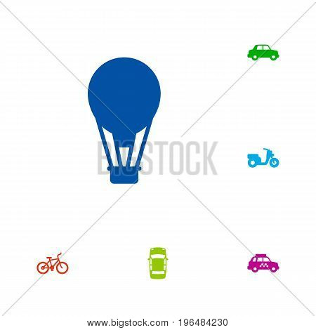 Collection Of Bicycle, Taxicab, Airship And Other Elements. Set Of 6 Shipping Icons Set.