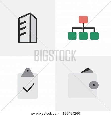 Elements Done, Purse, Structure And Other Synonyms Done, Mark And Architecture. Vector Illustration Set Of Simple Business Icons.
