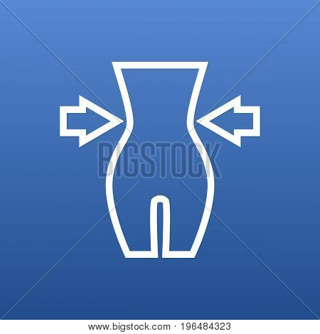 Vector Weight Loss Element In Trendy Style. Isolated Slimming Outline Symbol On Clean Background.