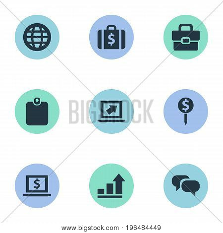Elements Authentication, Monitor, Briefcase And Other Synonyms Talking, Increase And Dollar. Vector Illustration Set Of Simple Business Icons.