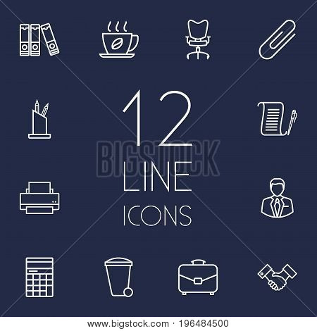 Set Of 12 Bureau Outline Icons Set. Collection Of Pen Storage, Counter, Workplace And Other Elements.