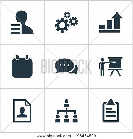 Elements Growth Chart, Checklist, Recruitment And Other Synonyms Subordination, Event And Hierarchy. Vector Illustration Set Of Simple Plan Icons.