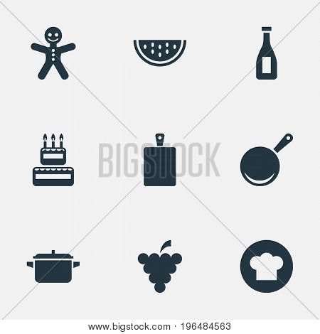 Elements Birthday Cake, Cookware, Saucepan And Other Synonyms Christmas, Vinegar And Culinary. Vector Illustration Set Of Simple Preparation Icons.