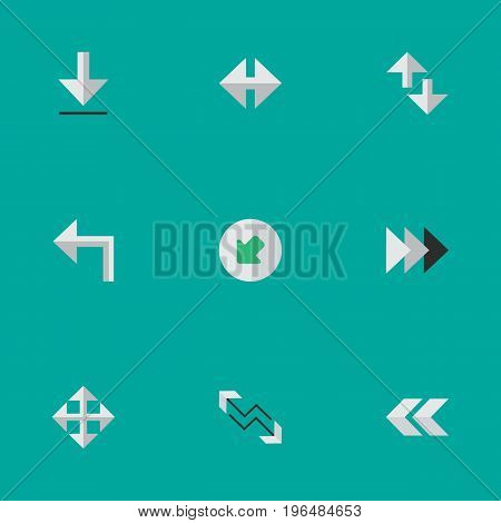 Vector Illustration Set Of Simple Pointer Icons. Elements Indicator, Arrow, Cursor And Other Synonyms Widen, Loading And Northwestward.